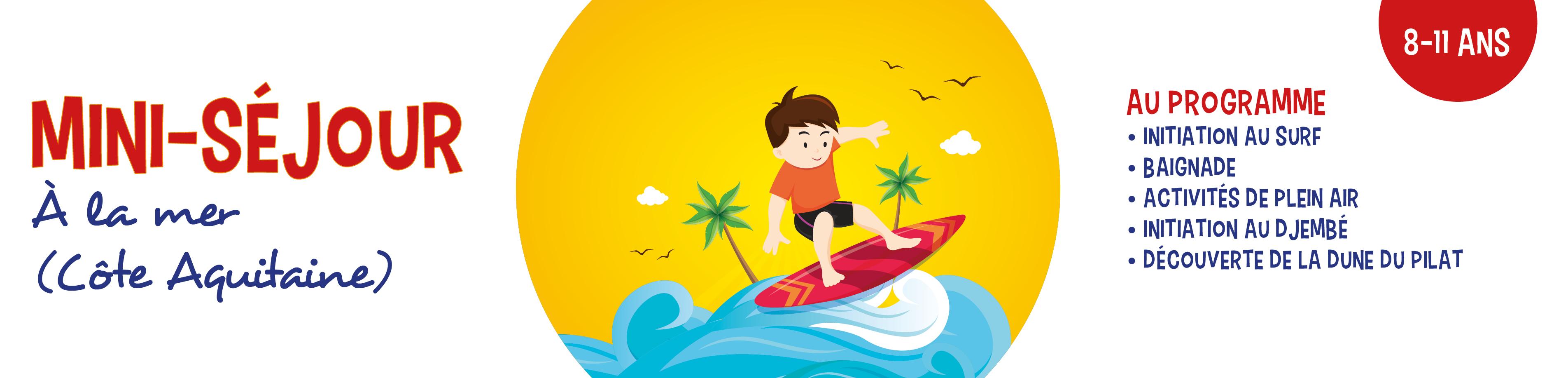 Découverte du surf en côte aquitaine (8-11 ans)